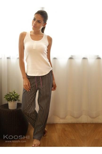 Hannah Long Pants Grey Stripes