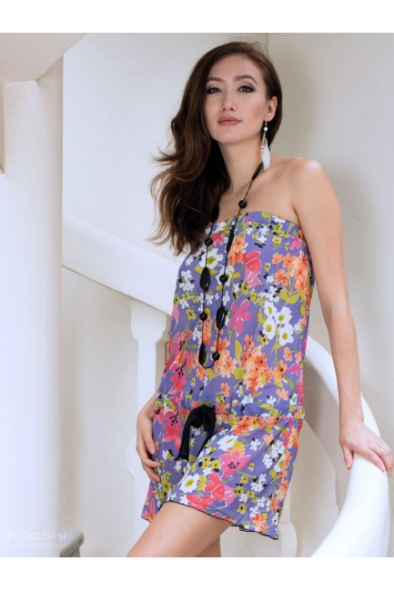 Caelia Tube Dress Purple Print