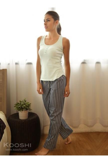 Hannah Long Pants Navy Blue Stripes